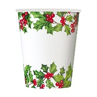 9oz HollyガーランドHoliday Paper Cups , 8 ct