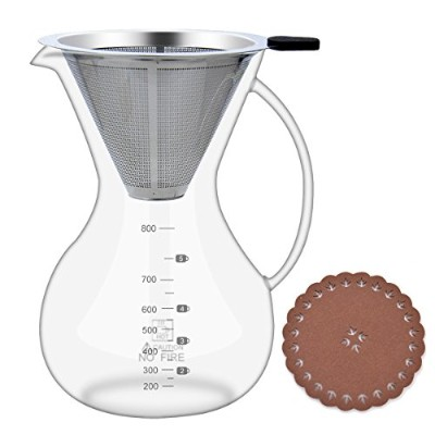 Pour Over Coffee Maker Set(28oz/800ml),Glass Carafe with Coffee Dripper,BPA-free Certificate Drip...