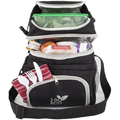 2 goeco Soft Sided Lunch Cooler | Insulated Bento Meal Prepコンテナオーガナイザーバッグ|大人用メンズレディースExtra Large...