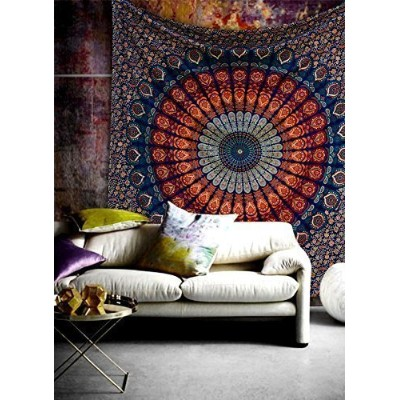 (Queen 230 X 215 Cms/90 X 84 Inches, Multi Orange Turquoise) - Queen Hippie Bohemian Psychedelic...