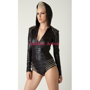 【即納】L.A.RoxxHooded bodysuit with leather studded shoulder 【L.A.Roxx (ダンスウェア、レザー、ボンテージ、衣装)】【LR-BS...