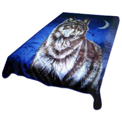 Wolf Bust Heavy Weight 3.2kg (7lbs) Acrylic Mink Blanket by Regal Comfort