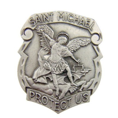 Catholic Gift Archangel Saint St Michael Police Badge Travel Protection Auto Car Visor Clip by Religious Gifts