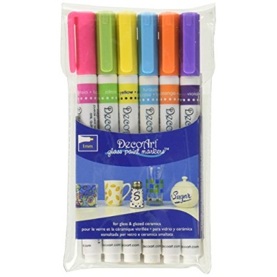 DecoArt Glass Paint Marker Multi-Pack 6pc-Brights/ Sold as a pack of 1