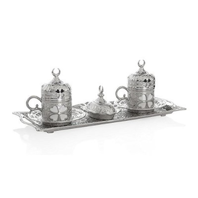 (Clover Silver) - 11 Pieces Set of 2 Turkish Greek Coffee Espresso Cup Saucer Set for Serving -...