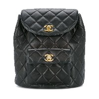 Chanel Vintage quilted chained backpack - ブラック