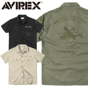 AVIREX アビレックス 6185104 S/S EMBROIDERED BDU シャツ