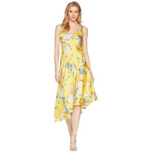 ドナモーガン レディース ワンピース トップス Sleeveless Printed Slip Dress with Asymmetrical Hemline Sunny Yellow/Blue...