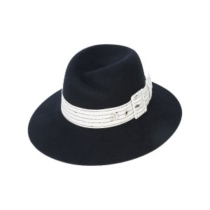Maison Michel Virginie cruising stripes hat - ブラック