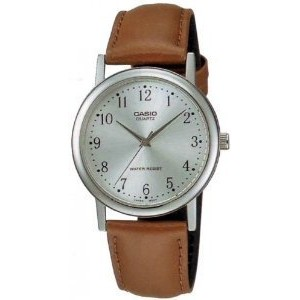 Casio Men's MTP1095E-7B Brown Leather Quartz Watch with Silver Dial【並行輸入】