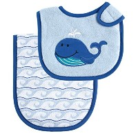 Luvable Friends Bib and Burp Cloth Set, Blue Whale by Luvable Friends