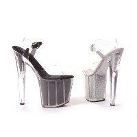 Ellie Shoes Women's 8 Inch Pointed Stiletto Sandal With Glitter In Platform (Silver;9)