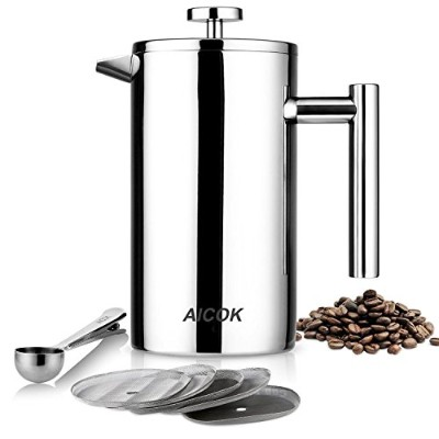 Aicok French Press Coffee Maker, Double Wall Stainless Steel Coffee Press, 8-Cup Tea Press with 5...