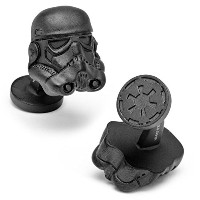 STAR WARSマットブラック3 - D Storm Trooper Helmet Cufflinksノベルティ1 x 1 in