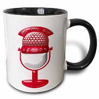 Anne Marie Baugh–音楽–Vintage Microphone with Musical Notes And On The Air Inピンクandホワイト–マグカップ...