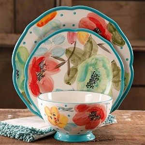SophisticatedヴィンテージBloom 12-piece Decorated食器セット、マルチカラー