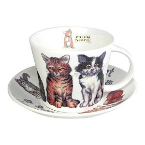 Roy Kirkham Cats at Home Breakfast Tea Cup and Saucer Set Fine Bone China England A