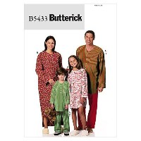 Butterick Patterns B5433 Misses'/ Men's/ Children's/ Boys'/ Girls' Nightshirt and Pants, Size KID [...