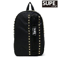 SUPE design(シュープ) メガジップ ミニデイバッグ(バックパック/リュック)『MEGA ZIP MINI DAY BAG ROCK WITH STUDS/ロック』(1 BLACK...