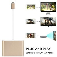 Lightning to HDMI/Audio/VGA 変換 アダプタLightning - Digital AVアダプタ ライトニングHDMI変換 ケーブル 3 in 1 Apple iPhone...