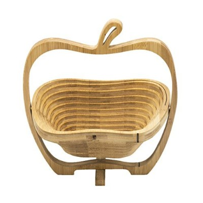 Varnished Collapsible Apple Shaped竹フルーツバスケット、ボウル、Centrepiece