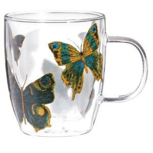 Cypress Home Butterfly Glass Coffee Cup, 12 ounces by Cypress Home