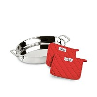 All-Clad Stainless Steel 38cm Oval Baker with Pot Holders