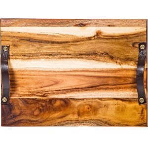 "Palais Dinnerware Acacia Cutting Board – Wooden Butcherブロック 17"" X 11"" X 1"" - With Leather Handles"