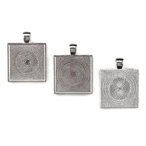 50 CleverDelights Square Pendant Trays - Shimmering Silver Color - 1 Inch - 25mm - Pendant Blanks...