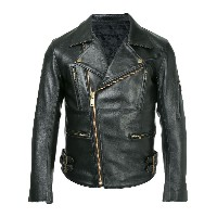 Black Means zipped leather jacket - ブラック