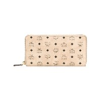 MCM logo print zip around wallet - ヌード&ナチュラル