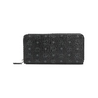 MCM logo print zip around wallet - ブラック