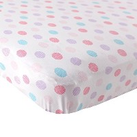 Luvable Friends Fitted Knit Cotton Crib Sheet Crosshatch Dot, Pink by BabyVision [並行輸入品]