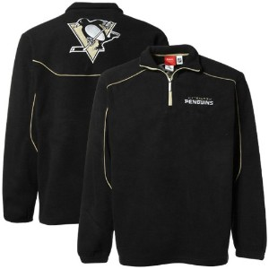 Pittsburgh Penguinsリーボック最終スコア1 / 4 Zip Polar Fleece L ブラック