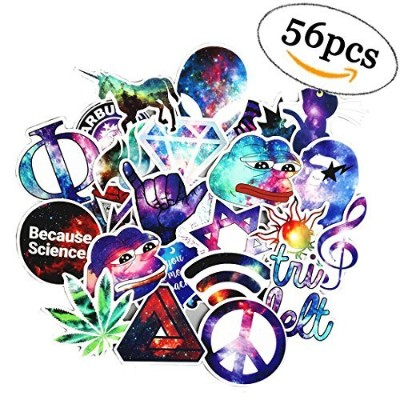 (56pcs Galaxy) - 56 Pcs Galaxy stickers pack for skateboard laptop Luggage water bottles, car...