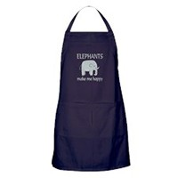 CafePress - Elephant Happy Apron (Dark) - 100% Cotton Kitchen Apron with Pockets, Perfect Grilling...