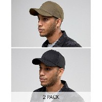 エイソス メンズ 帽子 アクセサリー ASOS 2 Pack Baseball Cap In Black and Khaki SAVE Multi