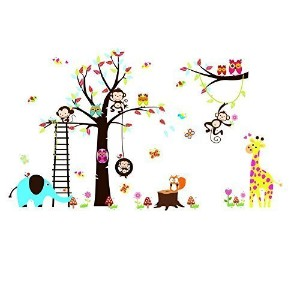 RRRLJL Colorful Jungle Tree with Zoo Animals and Owls Wall Decal Sticker Kid's Room Decorative by...