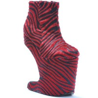 "BETTIE PAGE High Heel Womens Platform Zebra Ankle Boots 5.5"" BP579-CORA Red-8"