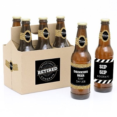 Happy Retirement - 6 Retirement Party Beer Bottle Label Stickers and 1 Carrier