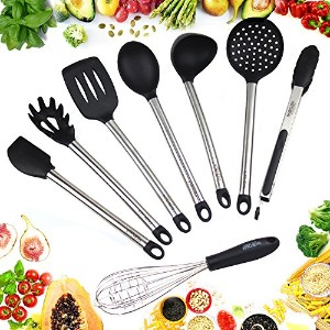 GREAT for Kitchen Utensils – 8 Pieces Large料理セットシリコン製のステンレススチール – 使用Servingの食品料理、、、Baking – Modern...