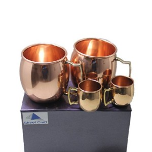 Streetクラフトギフト包装手作り100 % Pure Copper Authenticソリッド銅裏地なしMug Cup容量16 oz Cups with LEDフリーハンドル滑らかな仕上げのセット...