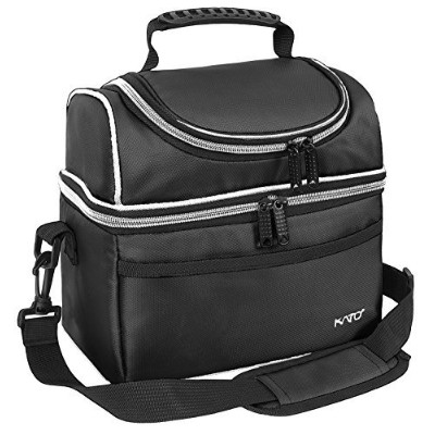 (Black) - Kato Insulated Lunch Bag, Leakproof Bento Cooler Bag for Men and Women, Dual Compartment...