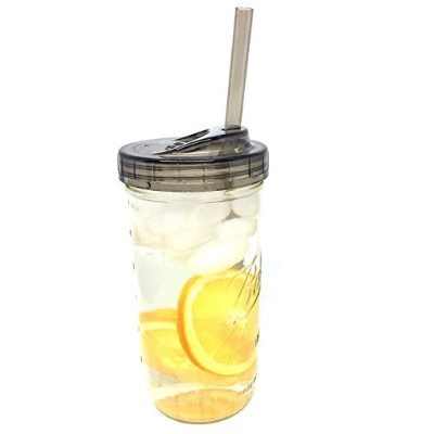(710ml Jar) - Ball Glass Mason Drinking Jar with One Piece Sip Lid and Straw (710ml Jar)