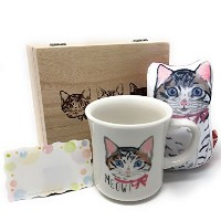 Cat Mug and Hand Restギフトセットwithメッセージカード、ギフトセットfor Cat Lovers ( Mei Mug Set 146599)
