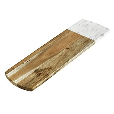 (Rectangle, Style 2) - ELFRhino Cheese Board Versatile Marble and Acacia Wood Pastry Board Cheese...