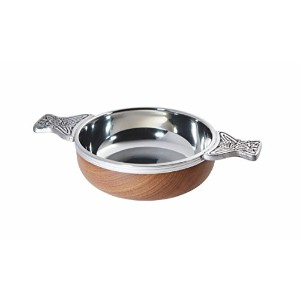 Wentworth Pewter - Large Wood and Pewter Quaich Whisky Tasting Bowl Loving Cup Burns Night