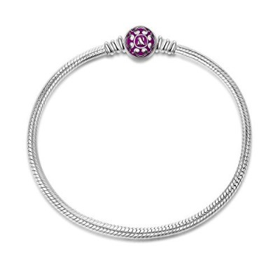 NinaQueen 925スターリングシルバースネークチェーンブレスレットwithパープルClasp charms-endearing Gifts for Her
