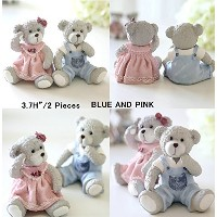 Eastyle A Pair of Teddy Bear Figurinesクリスマス誕生日ウェディングギフト装飾 ピンク