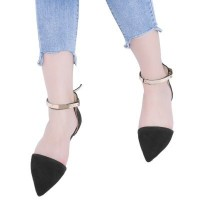 Graceful Low-fronted Pointed Toe Belt Design Ladies Flat Shoes